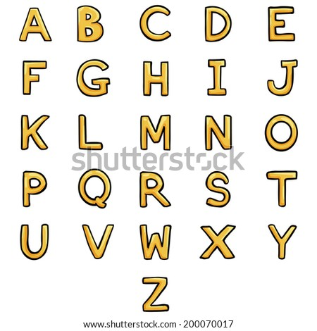 Vector Set of Cartoon Gold Letters. Alphabet. ABC.