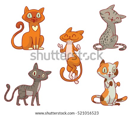 Vector set of cartoon images of cute different cats of different color with different actions and emotions on a white background. Pet. Vector illustration. Positive character.