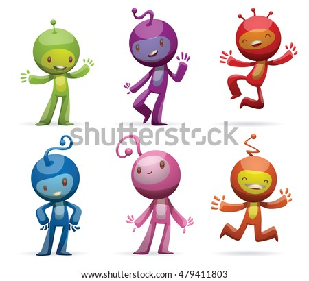 Vector set of cartoon images of funny little creatures of different colors with antennas on their heads, standing and smiling on a white background. Positive character. Vector illustration.