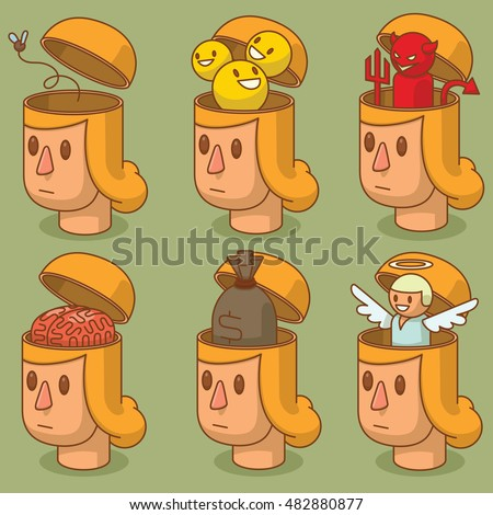 Vector set of cartoon images of women's heads with open braincases from which appears: a fly, a pink brain, a little angel, a bag of money, three smileys and a little red devil on a green background.