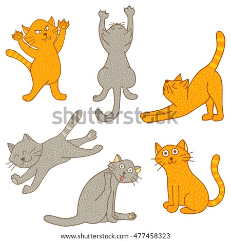 set cartoon cat doodle various pose stock vector 339974942