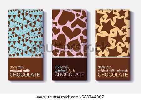 Vector Set Chocolate Bar Package Designs Vector 594709004 – Editable Leaf Template