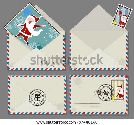 Vector set of Christmas envelops