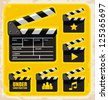 Vector set of clapboard design elements and icons. Movie and film design collection. - stock vector