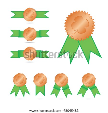Vector set of clover badges