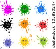 Vector set of colored blots isolated on White background. - stock photo