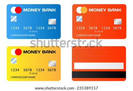 Vector set of credit cards illustration on white background