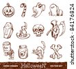 Vector set of cute hand-drawn halloween elements. - stock vector