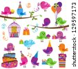 Vector Set of Cute Party Themed Birds - stock photo
