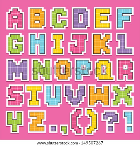 pixel art letters vector set pixel alphabet stock vector 149507336 24008 | stock vector vector set of cute pixel art alphabet stickers in pretty colors isolated on white good for scrap 149507267