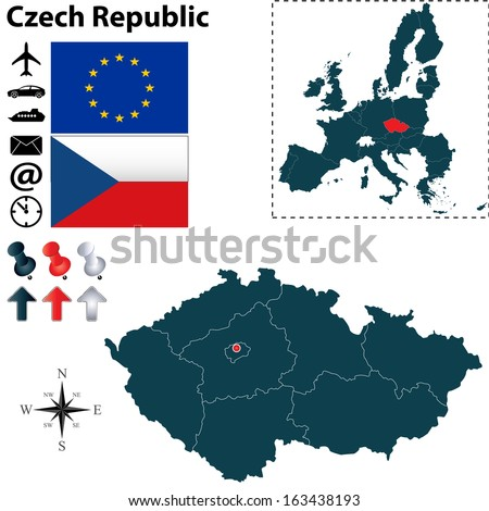 Vector set of  Czech Republic country shape with flags, buttons and icons isolated on white background