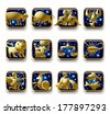 Vector set of dark blue icons with gold zodiacal signs with figure, symbols and stars against a white background - stock vector
