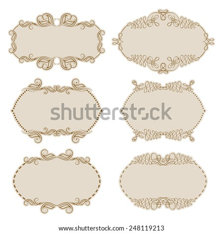Vector set of decorative ornate frame with floral elements for invitations. Page decoration.