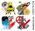 Vector set of detailed job occupation icons with tools and equipment - stock vector