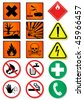 Vector set of different laboratory associated signs. All vector objects and details are isolated/grouped. Colors, shadow and background color are easy to customize. Symbols are replaceable. - stock photo