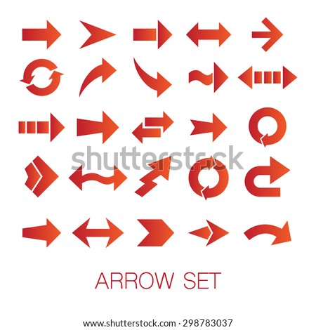 Vector set of different red arrows isolated on white background