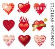 Vector set of different Valentines hearts - stock vector