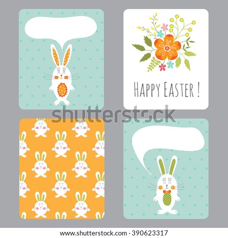 Vector Set Easter Small Cards Funny Stock Vector