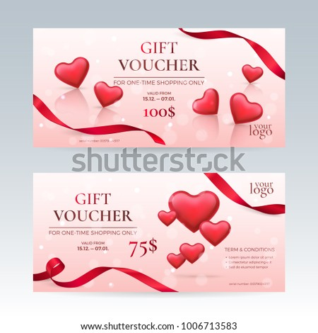 Gift voucher coupon discount happy valentines stock vector vector set of elegant gift vouchers for valentines day celebration with red glossy hearts and ribbons yelopaper Choice Image