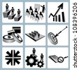vector set of financial, business management icon set - stock vector