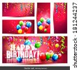 Vector set of five colorful birthday banners with confetti and balloons - stock photo