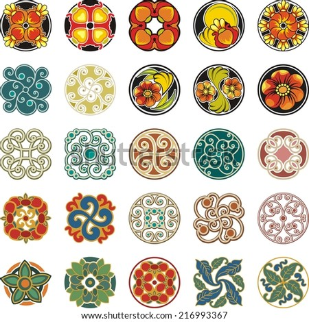 Vector set of floral ornamental circle designs in vintage style.