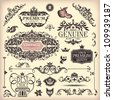 vector set of floral vintage elements - stock vector