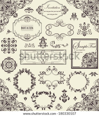 vector set of floral vintage elements