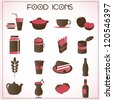 vector set of food and beverage icons - stock vector