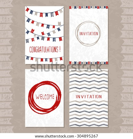 Vector set of four cards with hand drawn sketch elements. Summer sea theme. Good for invitations, cards, other printed stuff.
