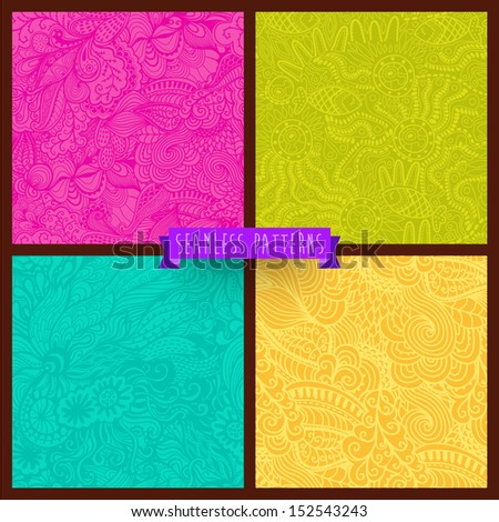 Vector set of four seamless hand-drawn pattern, waves background. Vector backdrop. Bright pattern. Collection. Combo. Set. Hand drawn abstract backdrop. Wallpaper for pattern fills, web page.
