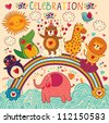 Vector set of funny, happy animals. Greeting card. Happy Birthday - stock