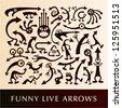 Vector set of funny live arrows. - stock vector