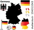 Vector set of Germany country shape with flags and icons isolated on white background - stock photo