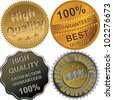 vector set of gold, silver and bronze medals for best, premium, high quality, 100 percent guaranteed, isolated on the white background - stock photo