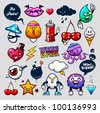 Vector set of graffiti bizarre characters. - stock vector