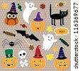 Vector set of Halloween stickers - stock