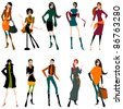 Vector set of hand drawn style illustration of beautiful autumn girls - stock vector