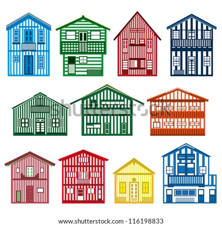 Vector set of happy colorful beach houses