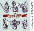 Vector set of hoody gangsters. Grungy style. All elements are groupped and layered. - stock vector
