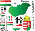 Vector set of Hungary country shape with flags, buttons and icons isolated on white background - stock vector