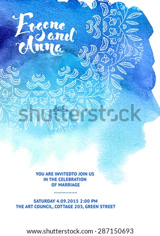 Vector set of invitation cards with watercolor elements, ornament lace. Save the date. Watercolor wedding collection. Design invitation templates. Vector illustration EPS10.