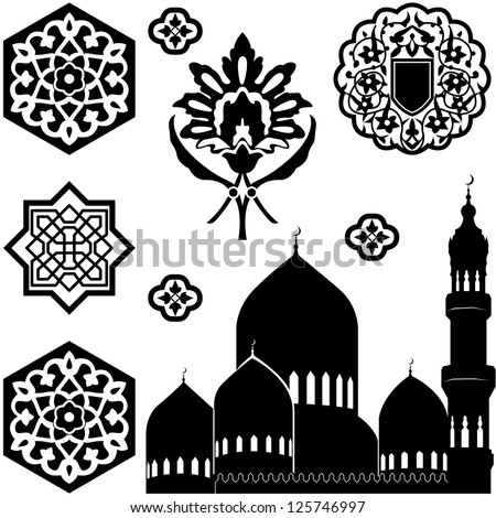 Vector set of Islamic ornaments on white background - stock vector