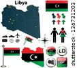Vector set of Libya country shape with flags and icons isolated on white background - stock photo