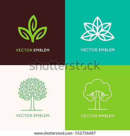 Vector set of logo design templates and emblems made with leaves and flower - badge for yoga studios, holistic medicine centers, natural cosmetics, handcrafted jewelry and organic food products
