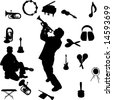 Vector set of Musical instruments and Players-1 - stock vector