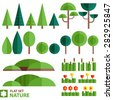 Vector set of nature icons in a flat style. Trees, shrubs, grass, flowers, reeds and other natural objects. - stock vector