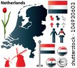 Vector set of Netherlands country shape with flags, windmills and icons isolated on white background - stock vector