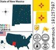Vector set of New Mexico state with flag and icons on white background - stock vector