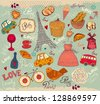 Vector set of Paris symbols - stock photo